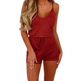 $enCountryForm.capitalKeyWord Australia - Free Ostrich Summer Beach Romper Women New Fashion Belted Elegant Overalls Casual O Neck Sleeveless Jumpsuit Solid Playsuit N30