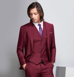 $enCountryForm.capitalKeyWord Australia - Custom Made Deep Wine Red Formal Wedding Men Suits Three Piece Notched Lapel Business Groom Wedding Tuxedos (Jacket + Pants + Vest)