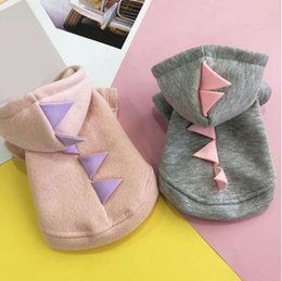 Cute Outfits For Spring Australia - Soild Color Pet Dog Clothes Coat Winter Cotton Soft Warm Cute Dinosaur Clothing Princess Sweatshirt For Small Dog Pet Outfit