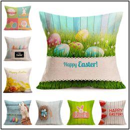Discount xmas car - 23 Styles Xmas Easter Linen Pillowcase Digital Print Sofa Car Cushion Covers Decorative Chair Waist Throw Pillow Home Pa
