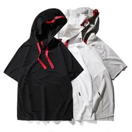 Short Sleeved Sweater men online shopping - 2019 High Street Kanye Mens Fashion Tshirt Short Sleeved Thin Hooded Sweater Short sleeved T shirt for Male