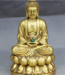 "temple blocks Australia - Copper Brass craft 12"" Old Tibet Buddhism Temple Brass Sakyamuni Shakyamuni Buddha Hold Ball Statue"