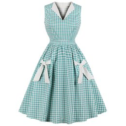 00f3fa6afe6 Wipalo Hepburn Vintage Dress Women Green Plaid Check Print Bowknot Pockets  Pin Up Vestidos Summer A-line Party Dresses Plus Size Q190511