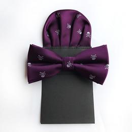 $enCountryForm.capitalKeyWord Australia - Men's Polyester Wine Red Silk Bow Tie Skull Bowtie Pocket Square for Tuxedo Shirt Banquet New Design Bowknot