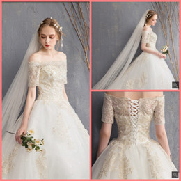 $enCountryForm.capitalKeyWord Australia - 2019 free shipping ball gown off the shoulder gold lace appliques wedding dress princess puffy corset court train wedding gowns hot sale