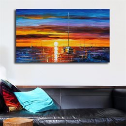 $enCountryForm.capitalKeyWord Australia - Sunset And Boat Oil Painting Canvas Posters Prints Wall Art Painting Decorative Picture Modern Kitchen Bedroom Home Decoration