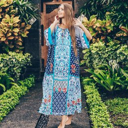 plus size bathing suit covers NZ - 2020 Print Long Beach Tunic Cover-up Cotton Plus size Swimsuit Cover up Sarong Robe Plage Beach wear Bikini Cover up Bathing Suit