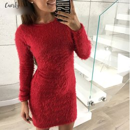 white bodycon sweater dress UK - Fashion Winter Plush Sweater Dress Women Party Night Bodycon Christmas Black Clothing Sexy Mini Bandage Knitted Dress For Female