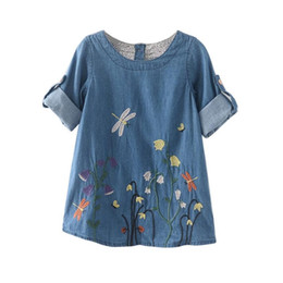 Cowboys Clothes Australia - good quality Toddler Kids Baby Girls Clothes Flower Embroidery Denim Princess Dresses Girl dragonfly flower embroidery cowboy dress