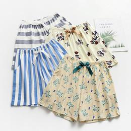 cute summer pajamas 2019 - Summer Casual Striped Cute Short Pants Women Sleep Bottoms Pajamas Print Cotton Loose Cofortable Home Shorts cheap cute