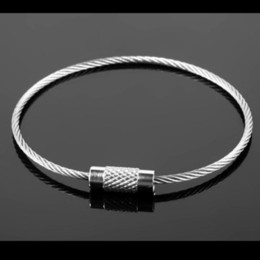 $enCountryForm.capitalKeyWord Australia - 10Pcs EDC Keychain Tag Rope 2mm Stainless Steel Wire Cable Loop Screw Lock Gadget Ring Key Keyring Circle Camp Hanging Tool T409