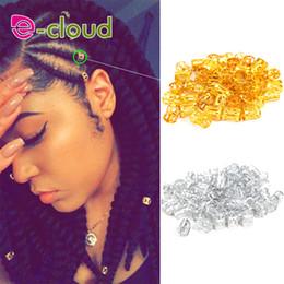 Dreadlock Hair Australia - 100pcs Gold metal tube ring dreadlock beads for braids hair beads for dreadlocks adjustable hair braid cuff clips