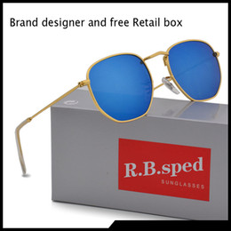 Hexagon sunglasses online shopping - 8 color Classic Retro Sun glasses Man women Hexagon Sunglasses Metal Frame Eyewear Glasses Oculos De Sol gafas with brown cases