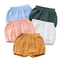 Hot Girls Diapers UK - 2019 summer unisex kids shorts baby girls shorts cotton linen boys bloomers infant plain pp short boutique diaper covers toddler clothes hot