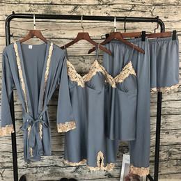 Lounge cLothes online shopping - 2019 Women Satin Sleepwear Pieces Pyjamas Sexy Lace Pajamas Sleep Lounge Pijama Silk Night Home Clothing Pajama Suit