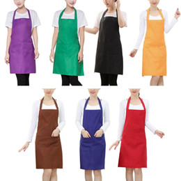 waterproof work aprons 2019 - Women Apron Waterproof With Pockets Solid Color Kitchen Restaurant Cooking Shop Art Work Apron Korean Waiter Aprons chea