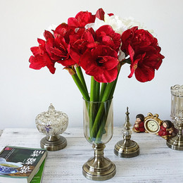 ingrosso amarilide-4pcs artificiale Amaryllis Fiore Fleurs artificielles per la decorazione Fiori di seta casa Wedding Table Hippeastrum Flores