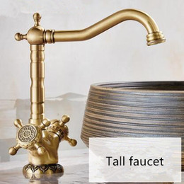 $enCountryForm.capitalKeyWord Australia - Basin Faucet Antique Bronze Carved Dual Handle Hot & Cold Sink Faucet Mixer Kitchen Tap Bathroom Faucet Lavatory Mixer