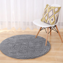 bath chairs 2019 - Big Round Microfiber Bath Mats Chenille Absorbent Bath Rugs Bathroom Floor Mats Computer Chair Yoga Pat Christmas Decora