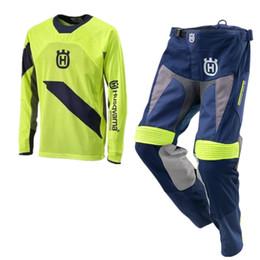 Venta al por mayor libre del envío para Husqvarna Husky Style Motocross Racing Riding Sweatshirt + MX motocicleta pantalones ciclismo Jersey L