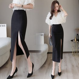 Wholesale black pencil skirt slit for sale - Group buy Black Sexy Plus Size Bodycon Pencil Long Skirts with Slit Womens High Waisted Elastic Red Bag Hip Skirt Step Skirt Clothes LY191202