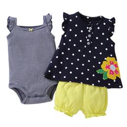 1e8ad09eda 2019 Brand Summer Children Clothes Romper +Pants +Shirt 3pcs baby clothing  Baby Girls Set Short Sleeve Tops Newborn Infant Baby