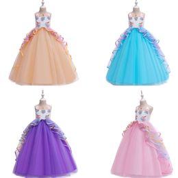 Girls white Gauze dress online shopping - Girl Tutu Princess Dresses Ruffle Gauze Unicorn Full Dress Kids Designer Clothes Girls Baby Girl Cake Dresses