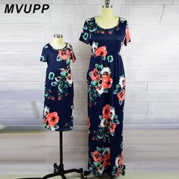 matching mommy girl clothes NZ - Mvupp Mother Daughter Dresses Fashion Floral Print Short Sleeve Mommy And Me Clothes Family Matching Outfits Ankle-length Dress Y19051103