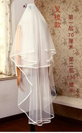 Two layer walTz veil online shopping - New Elegant Two Layer Fashion Designer High Quality Ribbon Edge Waltz Length White Ivory Champagne Alloy comb Bridal Veils