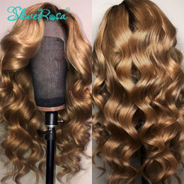 full lace blonde ombre wig Canada - Wholesale deep wave Ombre blonde Brazilian full Lace Front Wigs With Baby Hair 360 lace frontal Pre Plucked synthetic Wig For Women