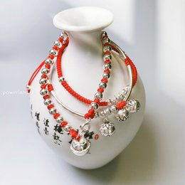 $enCountryForm.capitalKeyWord Australia - Jh 3 Bell Bracelet Real 925 Sterling Silver Lucky Red Bracelets For Women Bangle Wax String Amulet Gift Handmade Jewelry J190707
