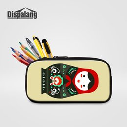 Doll Zippers Wholesale Australia - Dispalang Children Small Zipper Pencil Case For School Russian Doll Print Cosmetic Bag For Women Casual Mini Makeup Pouch Penbox