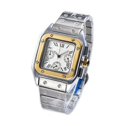 rectangle men analog watch UK - Men Watch Full Function Dial Quartz Movement Stainless Steel Strap Automatic Date Square Case Fashion Watches
