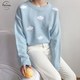 Wholesale loose pullover knit for women resale online - Kawaii Women s Ulzzang Vintage College Loose Clouds Sweater Female Korean Punk Thick Cute Loose Harajuku Clothing For Women