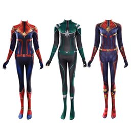 $enCountryForm.capitalKeyWord Australia - Halloween Women Girl Captain 3D Queen Cosplay Costume Superhero Lycar Spandex High Quality Zentai Bodysuit Sexy Catsuit Jumpsuit