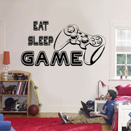 game television Canada - Eat Sleep Game Text Game Controller Wall Sticker Vinyl Home Decor Boys Room Teens Bedroom Gaming Room Decals Interior Mural