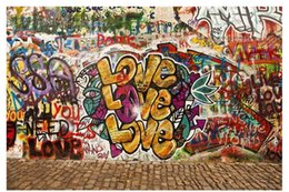 custom graffiti 2019 - Papel de parede Custom 3d photo mural wallpaper home decor Vintage LOVE street graffiti background wall sticker cheap cu