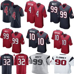 dabd4c7fd Houston Texan 4 Deshaun Watson 99 J.J. Watt Jersey Mens 90 Jadeveon Clowney  32 Tyrann Mathieu Football Jerseys