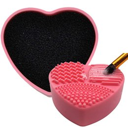 makeup brush cleaner wholesale 2021 - Tamax MP025 Silicone Makeup Brush Cleaner Portable Compact Cleaners practical cosmetic Brush Cleaning Box Scrubber Clean