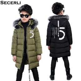 Wholesale New Big Boys Winter Coat Long Style Boy Winter Jacket With Fur Hood Cotton Padded Children Kids Jacket OutWear to Y