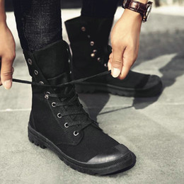 $enCountryForm.capitalKeyWord Australia - New Fashion all Black Men Casual Canvas flats Shoes Boys Tenis high top outdoor Non-slip Sneakers shoes boots LF-84