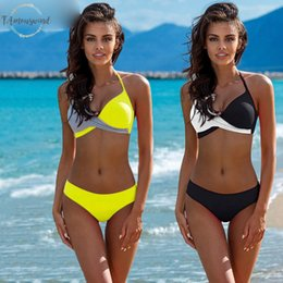 cross halter swimwear 2019 - Push Up Bikinis Halter Top Bikini Set 2019 Sexy Patchwork New Swimsuit Women Chest Cross Swimwear Bathing Suit Biquini d