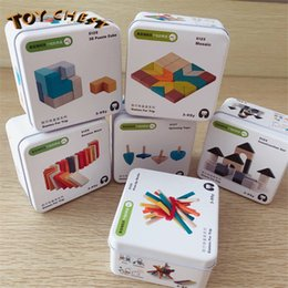 squared square puzzle Canada - TOY CHEST Brand Hot Sale Children's Puzzle Early Education Building Blocks Toys Square Castle Top Easy To Carry Iron Box For Travel