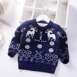 baby boy winter jumpers Australia - 2019 Autumn Winter Cartoon Christmas deer Boys Girls Sweater Children knitted Kids Pullover Clothes Thicken Jumper Baby Sweaters