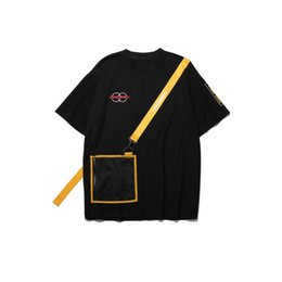 ab7f6ea4 Ribbon Zipper Pocket Tshirts Streetwear Men Hip Hop Casual Swag Tops Tees  Fashion Harajuku Short Sleeve T Shirts