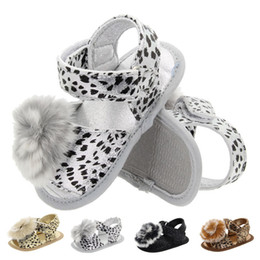 Infant Girl Slippers Australia - Fashion baby leopard buckle strap flower ball shoes infant slipper shoes baby girl first prewalker 0-18M