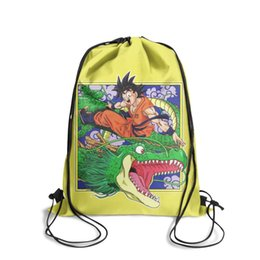 ball fruit Australia - Drawstring Sports Backpack Dragon ball z super goku and Shenron fashion convenient Travel Beach Travel Fabric Backpack