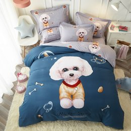 Kids Cartoon Bedding Set King Size Australia - Cute Cartoon Dog Print Bedding Set Twin Queen King Size Brushed Cotton Kids Dorm Bedroom Textiles for Single Double Bed
