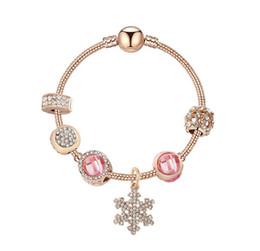 28711be86a1 Fashion Rose Gold Snowflake Ball Clasp Charms Bracelet European Charm Beads  925 Sterling Bracelet Fits Pandora Charm Bracelets Necklace