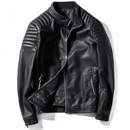Motorcycle Jacket Stand Collar Australia - Leather Jacket Men Stand Collar Motorcycle Jackets Jaqueta De Couro Masculino Mens Fashion Streetwear Coats 4xl Veste Cuir Homme